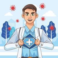 super médico com camisa aberta vs covid19 vetor