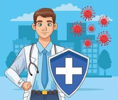 médico profissional com personagem avatar escudo vetor