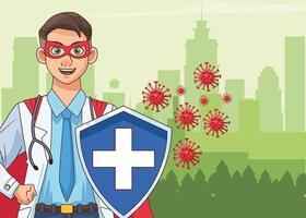super médico com escudo e capa vs covid19 vetor