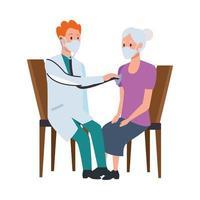 médico atendendo velha, em cadeiras vetor