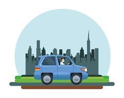 homem usando máscara e dirigindo um carro vetor