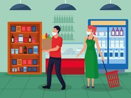 casal usando máscaras em supermercado vetor