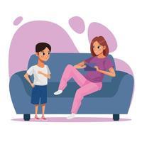 mãe e filho ficando em casa vetor