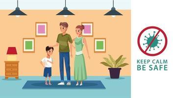 pais com filho ficando em casa vetor