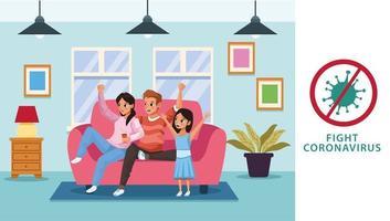 pais e filha ficando em casa para evitar covid 19 vetor