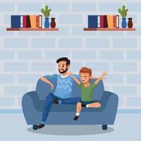 pai e filho ficando em casa para evitar cobiça 19 vetor