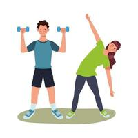 jovens atletas se exercitando juntos vetor