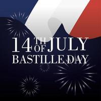 cartão de comemoração do dia da bastilha com bandeira francesa e fogos de artifício vetor