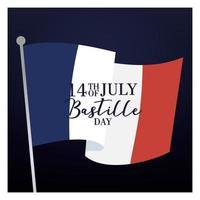 cartão comemorativo do dia da bastilha com bandeira da França vetor