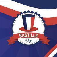cartão comemorativo do dia da bastilha com bandeira francesa e cartola vetor