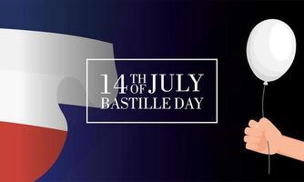 cartão comemorativo do dia da bastilha com bandeira francesa e balões vetor