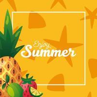 letras de horário de verão com moldura retangular e frutas vetor