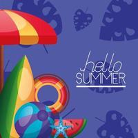 letras de horário de verão com ícones tropicais vetor