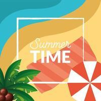 design de horário de verão com ícones tropicais vetor