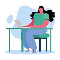 jovem usando laptop em casa vetor