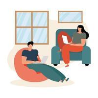 jovem casal usando laptops dentro de casa vetor