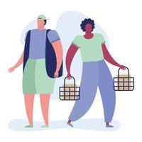 jovens homens inter-raciais com cestas de compras