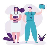 médicos profissionais com pranchetas vetor