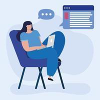 jovem estudante em educação online em casa