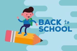 banner fofo de volta às aulas com aluno vetor