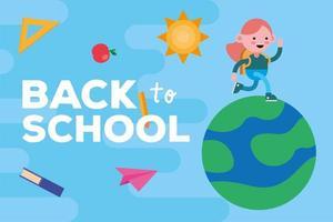 faixa de volta às aulas com aluna caminhando em um planeta vetor
