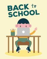 faixa de volta às aulas com aluno usando laptop vetor