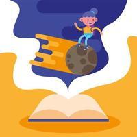 menina da escola em um meteorito vetor