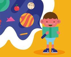 garotinho de escola lendo um livro vetor