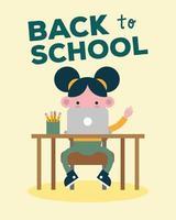 banner de volta às aulas com aluna usando laptop vetor