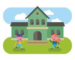 crianças caminhando na frente da escola vetor