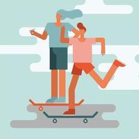 jovem casal andando de skate vetor