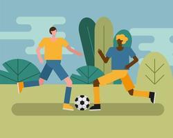 jovens jogando futebol vetor