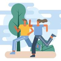 jovem casal correndo ao ar livre
