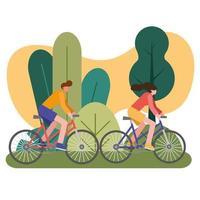 jovens andando de bicicleta ao ar livre vetor