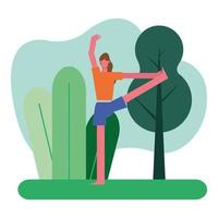 jovem fazendo ioga ao ar livre