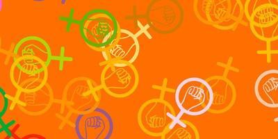 luz multicolor vetor pano de fundo com símbolos de poder da mulher.