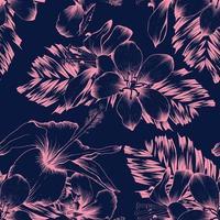 padrão sem emenda de hibisco rosa e flores silvestres e folhas de palmeira em fundo azul escuro. desenho de arte de linha de ilustração vetorial.