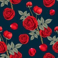 padrão sem emenda lindas flores rosas vermelhas em fundo abstrato azul escuro. ilustração vetorial mão aquarela seca desenho estilo de arte de linha. para design de tecido vetor