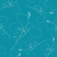 verão tropical sem costura padrão com flores de hibisco branco sobre fundo verde isolado. ilustração vetorial arte de linha de desenho de mão. para design de tecido.