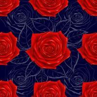 padrão sem emenda lindas flores rosas vermelhas em fundo abstrato azul escuro. ilustração vetorial arte de linha de desenho de mão. vetor