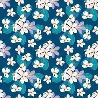 flores silvestres padrão sem emenda sobre fundo verde isolado. ilustração vetorial arte de linha de desenho de mão. para design de tecido. vetor