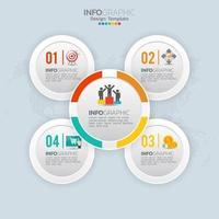 Elementos de infográfico de negócios com 4 opções ou etapas vetor