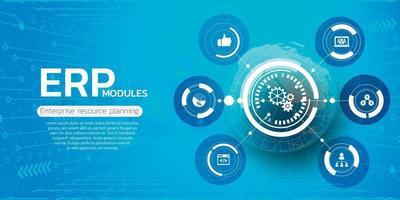 erp. planejamento de recursos empresariais e conceito de tecnologia moderna vetor