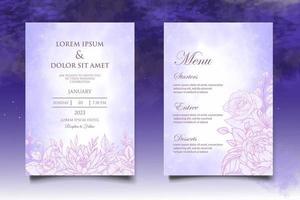 desenho à mão cartão de convite de casamento floral vetor