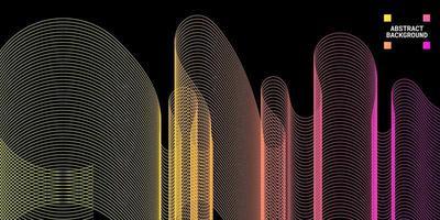fundo abstrato moderno com linhas onduladas em gradações de amarelo e roxo vetor
