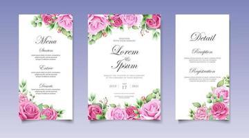 cartão de convite de casamento com lindas flores e folhas vetor
