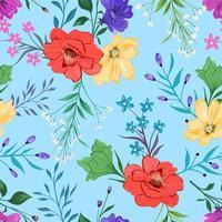 padrão sem emenda colorido com design floral botânico sobre fundo claro.