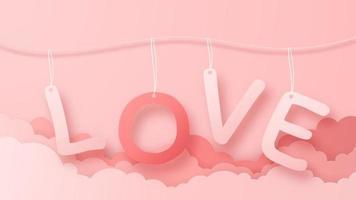 Balão de ar quente de origami 3D voando com fundo de texto de amor de coração. amo o projeto de conceito para o feliz dia das mães, dia dos namorados, dia de aniversário. ilustração em vetor papel arte.