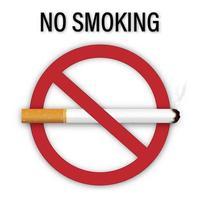 modelo de design de nenhum sinal de fumar isolado no fundo branco como saudável, questões sociais e conceito de arte de papel. vetor