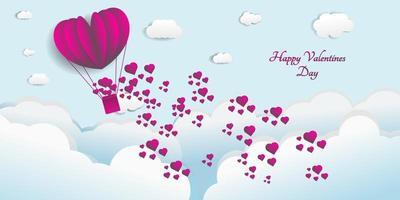 projeto de conceito de fundo. corações de balão voando no céu vetor
